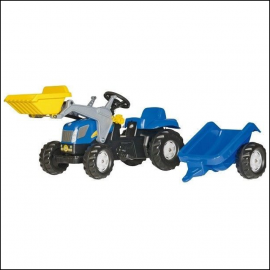Rolly New Holland TVT 190 Pedal Tractor with Front Loader & Trailer 1