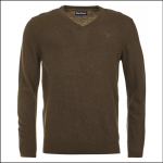 Barbour Essential Lambswool V Neck Sweater Olive Marl 1