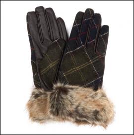 Barbour Linton Ladies Gloves Brown-Classic Tartan 1