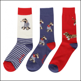 Joules Brilliant Bamboo 3pk Blue Dogs Ankle Socks 1
