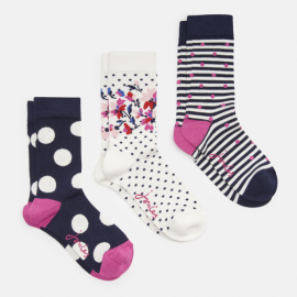 Joules Brilliant Bamboo 3pk Navy Multi Floral Ankle Socks 1
