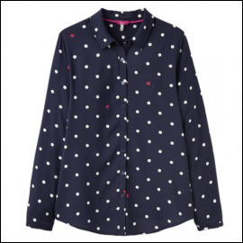 Joules Elvina Navy Spot Ladybirds Long Sleeve Printed Shirt 1
