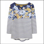 Joules Harbour Cream Floral Stripe Jersey Top