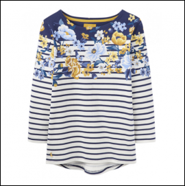 Joules Harbour Cream Floral Stripe Jersey Top 1