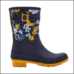 Joules Molly Navy Botanical Mid Height Wellies 1