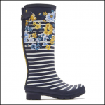 Joules Navy Botanical Tall Wellington Boots 1