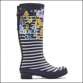 Joules Navy Botanical Tall Wellington Boots 1