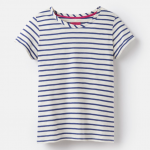 Joules Nessa Cream Blue Stripe Jersey T-Shirt 1