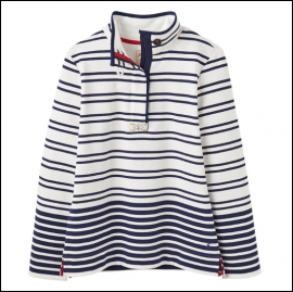Joules Saunton Cream Navy Stripe Sweatshirt 1