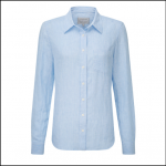 Schoffel Ladies Saunton White-Blue Stripe Linen Shirt 1