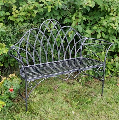 Ascalon Edwardian Garden Bench Black Silver 2