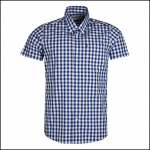 Barbour Gingham 3 Navy Short Sleeve Tailored Shirt 1
