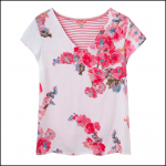 Joules Harriet White Floral V Neck T Shirt 1