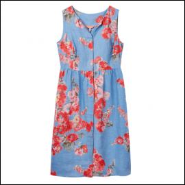 Joules Lisia Blue Floral Linen Dress 1