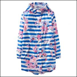 Joules Golightly Packaway Waterproof Jacket Blue Stripe Floral 1