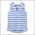 Joules Juliette Sleeveless Blue White Stripe V Neck Top