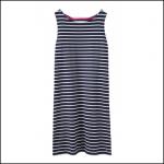 Joules Riva Navy Cream Stripe Sleeveless Jersey Dress