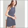 Joules Riva Navy Cream Stripe Sleeveless Jersey Dress 2