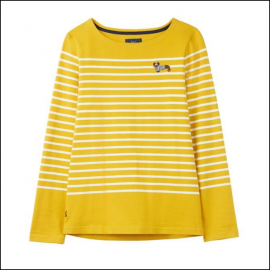 Joules Harbour Gold Stripe Dog Embroidered Jersey Top 1