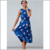 Joules Fiona Blue Posy Woven Dress with Tie Detail 2