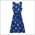 Joules Fiona Blue Posy Woven Dress with Tie Detail 1