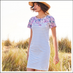 Joules Riviera Blue Floral Stripe Print Dress 1