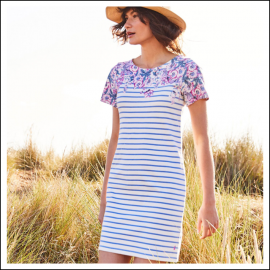 Joules Riviera Blue Floral Stripe Print Dress 1