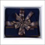 Barbour Cromer Navy Beanie & Scarf Gift Set 1