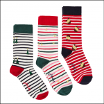 Joules Christmas Cracking Festive Socks 3pk Multi Stripe 1