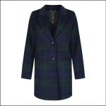 Joules Costello Navy Check Wool Blend Coat 1