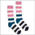 Joules Fabulously Fluffy Socks Green Block Stripe