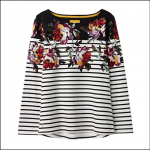 Joules Harbour Black Border Peony Long Sleeve Jersey Top 1