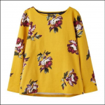 Joules Harbour Gold Peony Long Sleeve Jersey Top 1