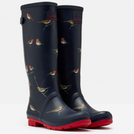 Joules Navy Printed Robins Wellies 2