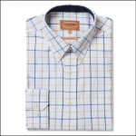 Schoffel Brancaster Navy-Brown-Yellow Wide Check Shirt 1