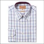 Schoffel Brancaster Purple Wide Check Shirt 1
