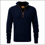 Schoffel Cotton Cashmere Cable Qtr Zip Jumper Navy 1