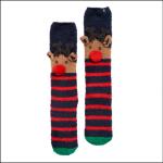 Joules Festive Fluffy Reindeer Socks Navy-Red