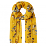 Joules Wensley Gold Floral Longline Scarf 1