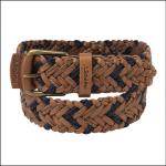 Schoffel Men's Woven Leather Belt Tan-Navy