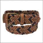 Schoffel Mens Woven Leather Belt Tan-Navy