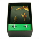Soprano Green Flying Pheasant Silk Tie & Cufflink Gift Set