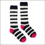 Joules Fabulously Fluffy Long Socks Navy Multi Stripe 1