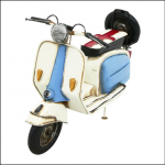 Rolson Model Blue & White Scooter Metal Garden Ornament