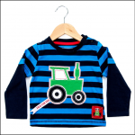 Tractor Ted Long Sleeve Stripey Top Blue-Navy