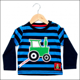 Tractor Ted Long Sleeve Stripey Top Blue-Navy 1