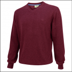 Hoggs of Fife Sterling Cotton V Neck Jumper Burgundy 1