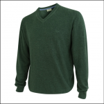 Hoggs of Fife Sterling Cotton V Neck Jumper Green 1