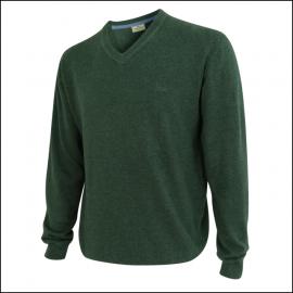 Hoggs of Fife Sterling Cotton V Neck Jumper Green 1