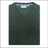 Hoggs of Fife Sterling Cotton V Neck Jumper Green 2